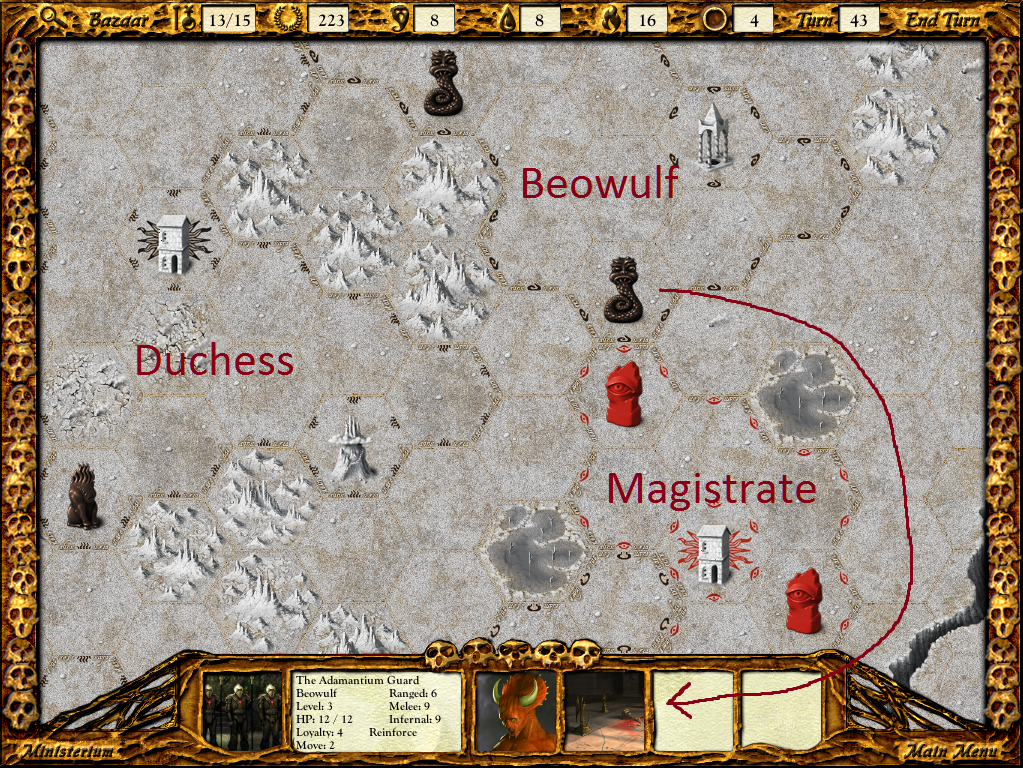 Beowulf now has the Adamantine Guard and Vassago, letting him push me around.