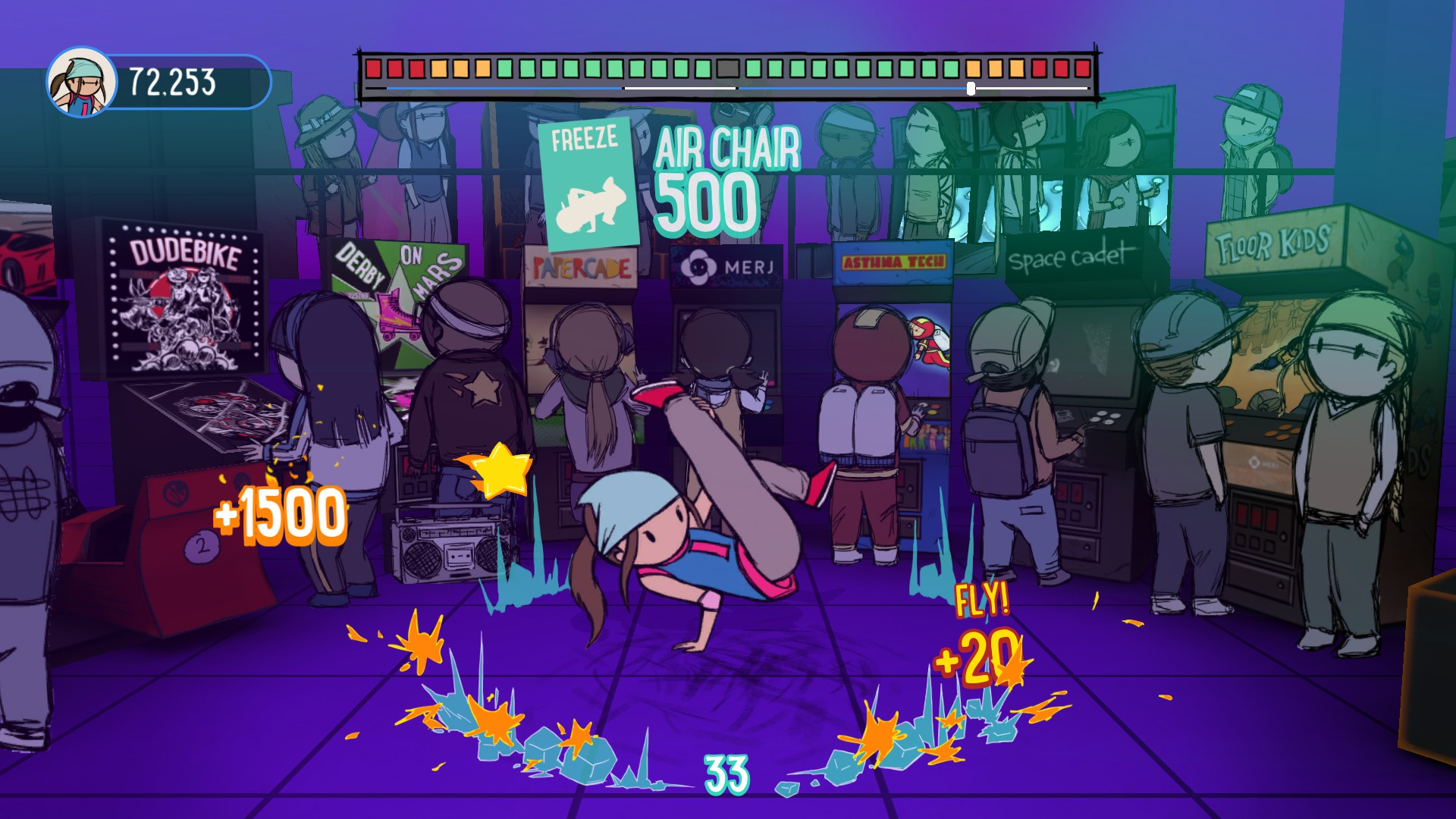Scribbles kicks it in the arcade, where fans can play Floor Kids in a video game inception scenario. Although personally I'd like to try Asthma Tech or Dudebike.