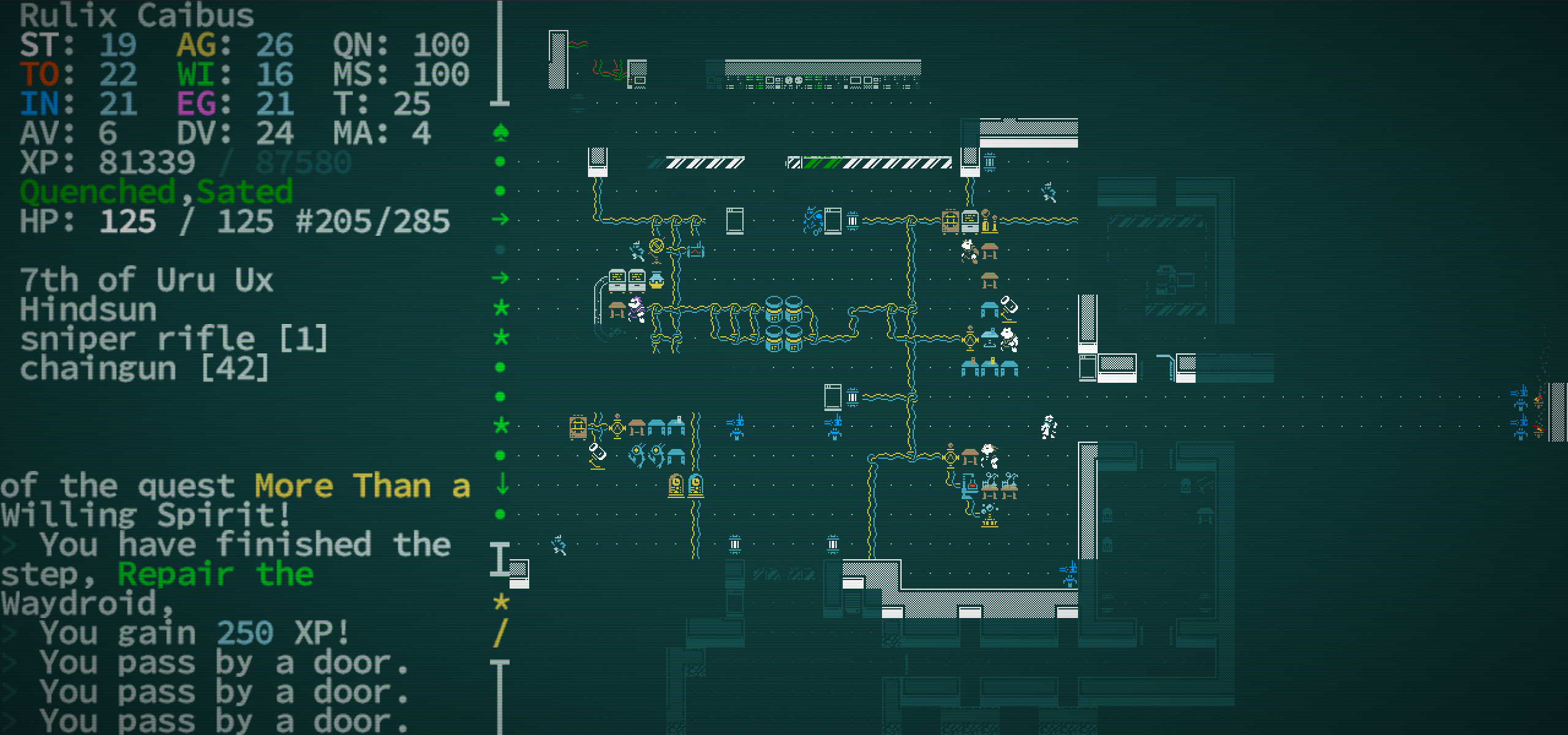 Checking out some ancient technology in Caves of Qud.